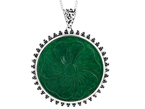 Green onyx sterling silver pendant, enhancer with chain