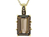 Brown smoky quartz 18k yellow gold over sterling silver pendant with chain 11.29ctw