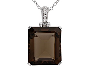 Brown smoky quartz rhodium over silver pendant with chain 7.14ctw