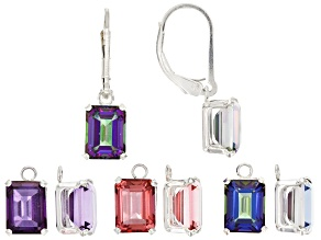 Multi Mystic Quartz(R) set of 4 pairs stones rhodium over silver earrings set 10.00ctw