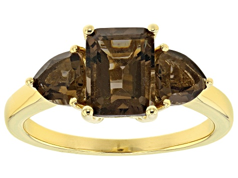 Brown Smoky Quartz 18k Yellow Gold Over Sterling Silver 3-Stone Ring 1.95ctw