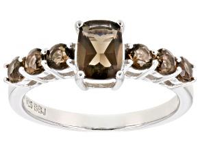 Brown smoky quartz sterling silver ring .97ctw