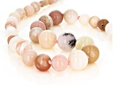 Pink Peruvian opal bead strand sterling silver necklace