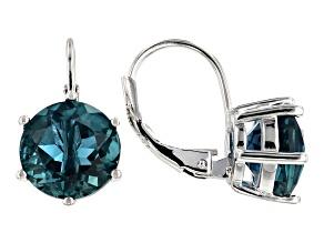 Blue Fluorite Rhodium Over Sterling Silver Drop Earrings 5.52ctw
