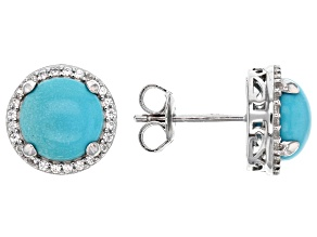 Blue turquoise sterling silver earrings .20ctw