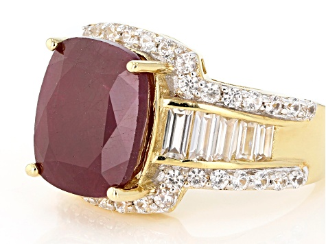 Red India ruby 18k yellow gold over sterling silver ring 9.09ctw