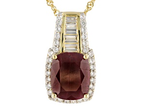 Red Indian ruby 18k yellow gold over sterling silver pendant with chain 9.03ctw