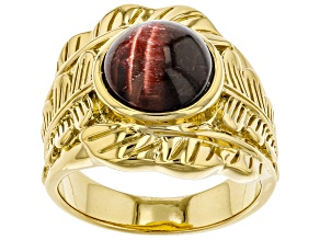 Red tiger's eye 18k yellow gold over sterling silver ring