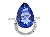 Blue color change fluorite sterling silver ring 7.87ctw
