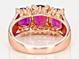 Red lab created bixbite 18k rose gold over sterling silver 3-stone ring 2.30ctw