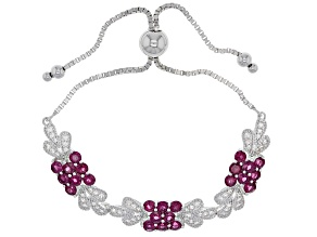 Red raspberry color rhodolite rhodium over sterling silver bolo bracelet 5.81ctw