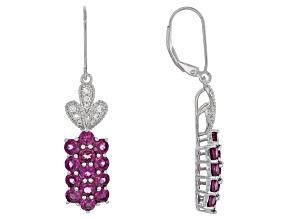Red raspberry color rhodolite rhodium over silver earrings 5.15ctw