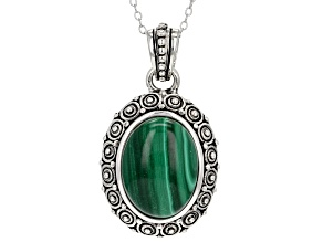Green malachite sterling silver pendant with chain