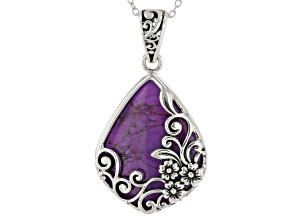 Purple turquoise rhodium over silver pendant with chain