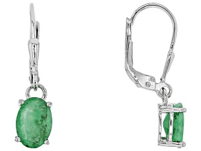 Green emerald rhodium over sterling silver dangle earrings 1.93ctw