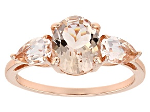 Pink morganite 18k rose gold over sterling silver 3-stone ring 2.04ctw