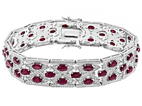 Red ruby rhodium over silver bracelet 13.47ctw