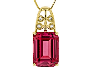 Orange Lab Created Padparadscha Sapphire 18k Gold Over Silver Pendant With Chain 13.28ctw
