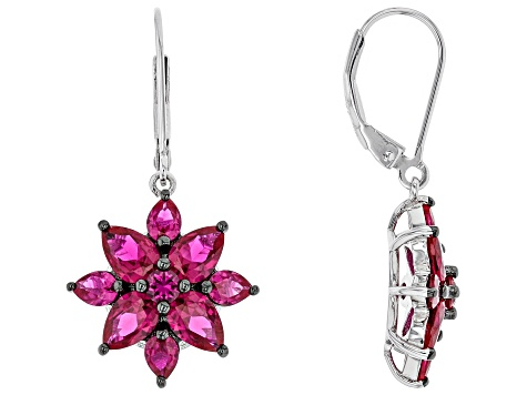 Red lab created ruby rhodium over sterling silver floral dangle earrings 5.14ctw