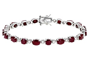 Red Indian Ruby Rhodium Over Sterling Silver Bracelet 14.61ctw