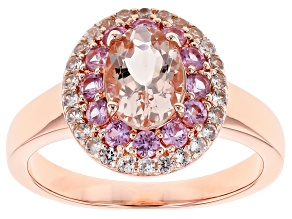 Pink Morganite 18k Rose Gold Over Sterling Silver Ring 1.48ctw