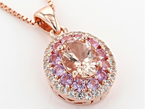 Pink Morganite 18k Rose Gold Over Sterling Silver Pendant With Chain 1.48ctw