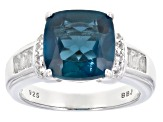 London Blue Topaz Rhodium Over Sterling Silver Ring 5.42ctw