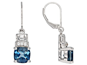 London blue topaz rhodium over sterling silver earrings 4.39ctw