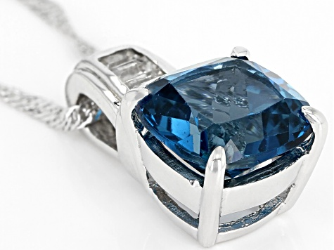 London Blue Topaz Rhodium Over Sterling Silver Pendant With Chain 5.21ctw