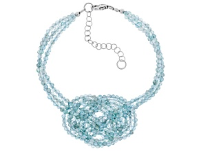 Blue Aquamarine Rhodium Over Silver Celtic Knot Bracelet 28.30ctw