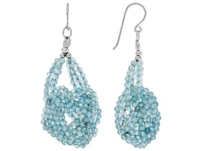 Blue Aquamarine Rhodium Over Silver Celtic Knot Earrings 35.00ctw