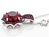 Red lab created ruby rhodium over silver pendant with chain 3.86ctw
