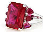 Lab Created Red Ruby Rhodium Over Silver Ring 11.84ctw
