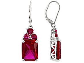Red lab created ruby rhodium over silver earrings 15.46ctw
