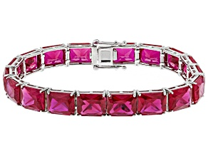 Red Lab Created Ruby Rhodium Over Sterling Silver Bracelet 51.87ctw