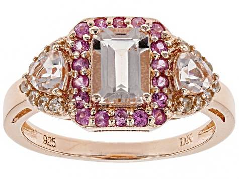 Pink morganite 18k rose gold over silver ring 1.52ctw