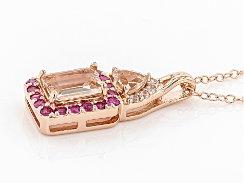 Pink morganite 18k rose gold over silver pendant with chain 1.24ctw