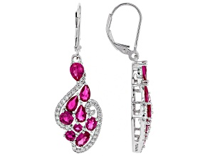 Red Lab Created Ruby Rhodium Over Silver Dangle Earrings 4.20ctw