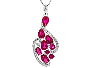 Red Lab Created Ruby Rhodium Over Silver Pendant With Chain 2.80ctw