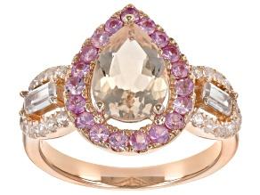 Pink morganite 18k rose gold over silver ring 2.19ctw