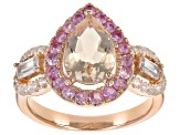 Pink morganite 18k rose gold over silver ring 2.19ctw