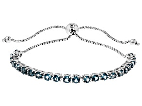 London Blue Topaz Rhodium Over Sterling Silver Bolo Bracelet 5.61ctw