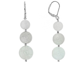 Blue Aquamarine rhodium over sterling silver earrings 42.60ctw