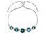 Teal fluorite rhodium over sterling silver bolo bracelet 7.57ctw