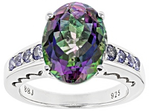 Green Mystic Topaz® rhodium over silver ring 6.54ctw