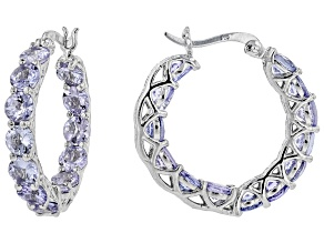 Blue tanzanite rhodium over silver hoop earrings 5.20ctw
