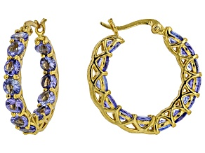 Blue tanzanite 18k yellow gold over sterling silver hoop earrings 5.20ctw