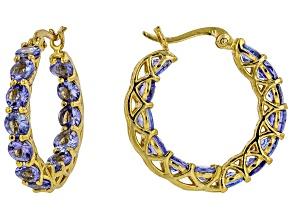 Blue tanzanite 18k yellow gold over sterling silver hoop earrings 5.20ctw