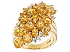 Orange Spessartite Garnet 18k Gold Over Silver Ring 6.73ctw