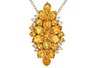 Orange Spessartite 18k  Gold Over Silver Pendant/Slide With Chain 6.73ctw